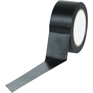 Industrial Vinyl Safety Tape, Solid Black, 3in. x 36yds., 16/Case