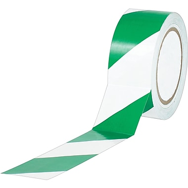 Industrial Vinyl Safety Tape, Green/White Striped, 3in. x 36yds., 16/Case