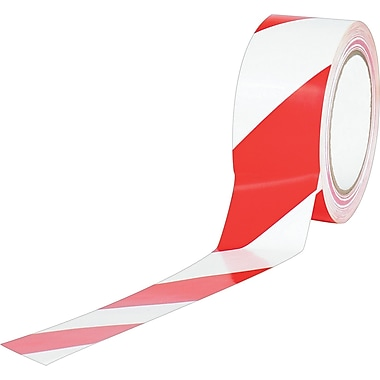 Industrial Vinyl Safety Tape, Red/White Striped, 3in. x 36yds., 16/Case