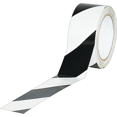 Industrial Vinyl Safety Tape, Black/White Striped, 2in. x 36 yds., 24/Case