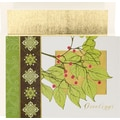 Holly Flourish Holiday Card with White Gold Foil Envelopes