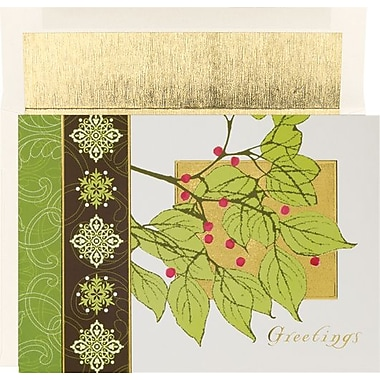 Great Papers® Holly Flourish Holiday Card with White Gold Foil Envelopes