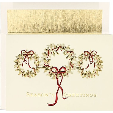 Three Gold Wreaths Holiday Cards & Envelopes