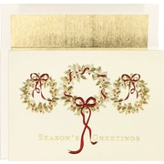 Great Papers® Three Gold Wreaths Holiday Cards & Envelopes