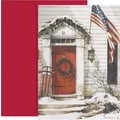 Patriotic Christmas Holiday Card with Red Envelopes