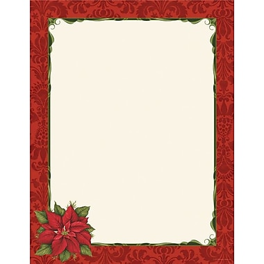 Poinsettia Damask Stationery