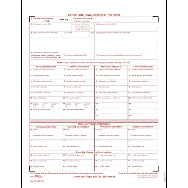 TOPS W-2C Tax Form, 1 Part, White, 8 1/2in. x 11in., 50 Sheets/Pack