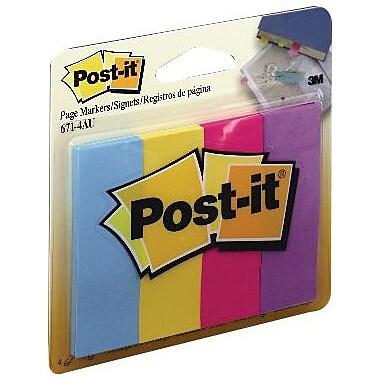 Post-it® - Marqueurs de pages, couleurs variées, 1 po x 3 po, bloc/50, paq./5