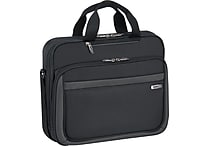 SOLO® Sterling Collection Laptop Slim Brief Case, Black, 15.6'