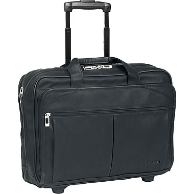 SOLO® Classic Collection CheckFast™  Rolling Laptop Case, Black, 15.6in.