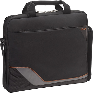 SOLO® Vector Collection Laptop Slim Brief, Black, 16in.