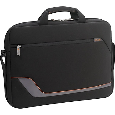 SOLO® Vector Collection Laptop Slim Brief, Black, 17.3in.