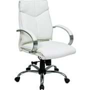 Office Star™ Leather Executive Mid-Back Chair, White and Chrome
