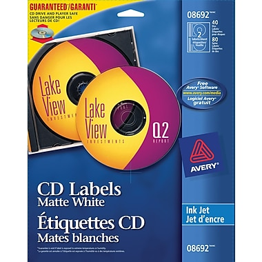 avery 8692 white inkjet cd labels 40 pack staples