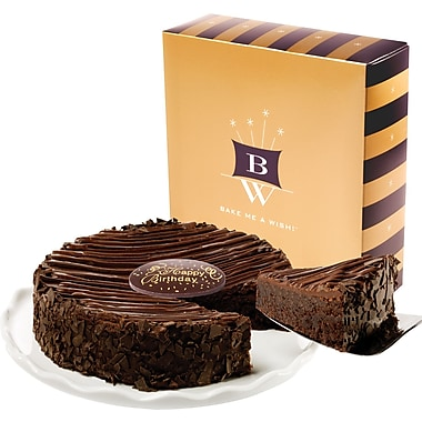 Bake-Me-A-Wish!™ 7in. Happy Birthday Triple Enrobed Chocolate Brownie Cake