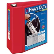 5 Avery® Heavy-Duty View Binders with One Touch™ EZD® Rings,Red