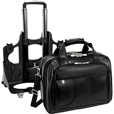 McKlein USA Chicago Leather Wheeled Laptop Case, Black,  17in.