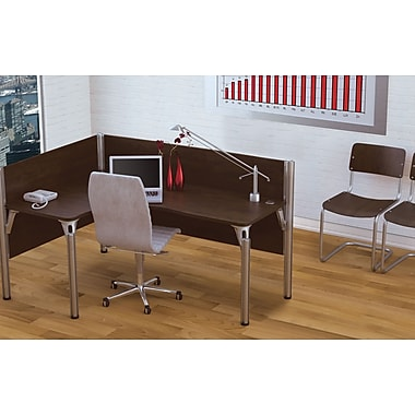 Bestar Pro-Biz Office System Single Left L-Desk Workstation, 3/4 Wall, Chocolate