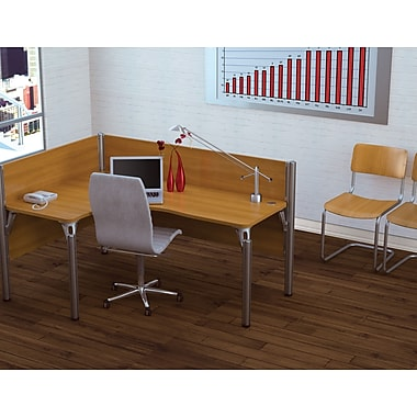 Bestar Pro-Biz Office System Single Left L-Desk Workstation, 3/4 Wall, Cappuccino Cherry