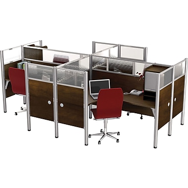 Bestar Pro-Biz Office System Quad Four L-Desk Workstation, Additional Privacy Panels, Full Wall, Chocolate