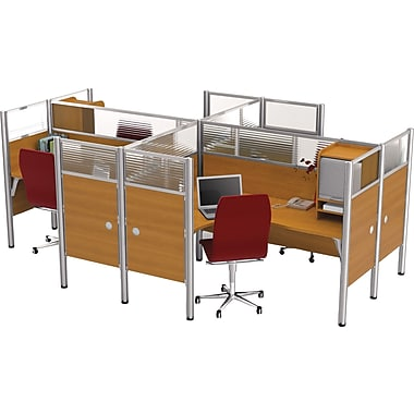 Bestar Pro-Biz Office System Quad Four L-Desk Workstation, Additional Privacy Panels, Full Wall, Cappuccino Cherry