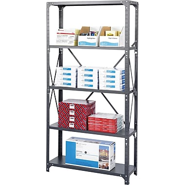 Safco® Steel Shelving, 5 Shelves, 36in. x 12in.