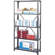 "Safco® Commercial Steel Shelving, 5 Shelves, Supports 350 lbs. per Shelf, Dark Gray, 75""H x 36""W x 24""D"