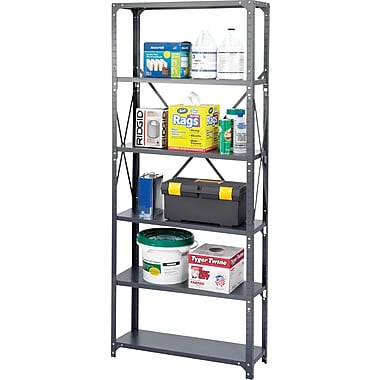 Safco® Steel Shelving, 6 Shelves, 36in. x 12in.
