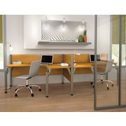 Bestar Pro-Biz Office System Double Side-by-Side Workstation, 3/4 Wall, Cappuccino Cherry