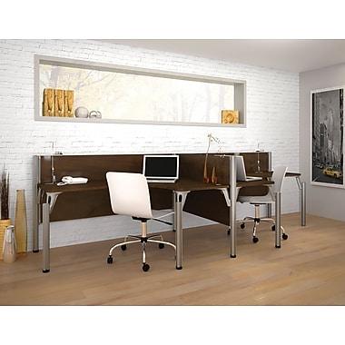 Bestar – Centre de travail double côte-à-côte du système de bureau Pro-Biz, mur 3/4, fini chocolat