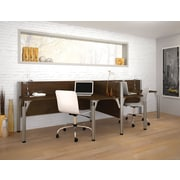 Bestar Pro-Biz Office System Double Side-by-Side Workstation, 3/4 Wall, Chocolate