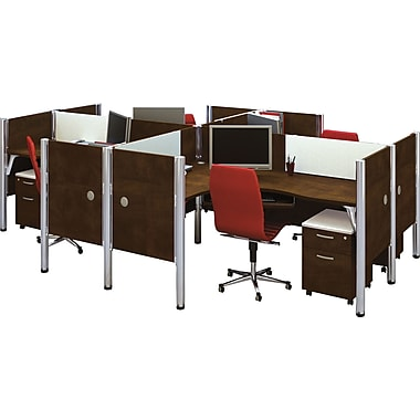 Bestar Pro-Biz Office System Quad Four L-Desk Workstation, Additional Privacy Panels, 3/4 Wall, Chocolate