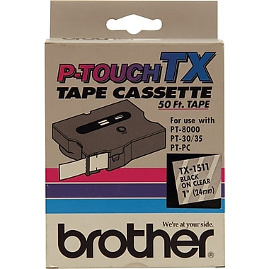 Brother 1in. Black on Clear tape