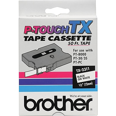 Brother 1/2in. Black on White tape