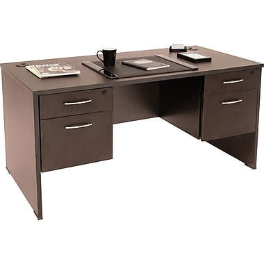 Regency Sandia Complete Office Solution, 66in. Double Pedestal Desk, Mocha Walnut