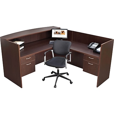 Regency® Sandia Complete Office Solution, Reception Desk, Mocha Walnut