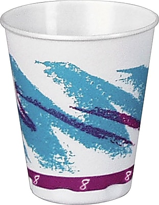 Solo Jazz Styrofoam Hot & Cold Cups, 8 Oz., Design, 1,000/Ct 957528