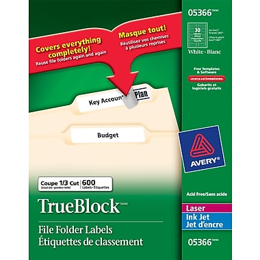 avery 05366 white laser inkjet file folder labels with trueblock 3 7 16 x 2 3 600 pack. Black Bedroom Furniture Sets. Home Design Ideas