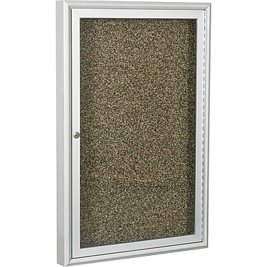 Best-Rite  Enclosed Rubber Tak Bulletin Board with Aluminum Frame, Silver Finish, 3' x 2'