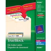 "Avery® Permanent TrueBlock Laser/Inkjet Filing Labels, 3-7/16"" x 2/3"", 600/Pack"