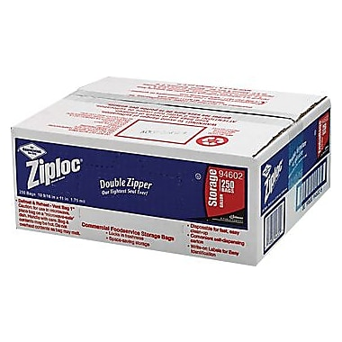 Ziploc Storage Bags, 1 Gallon, Clear, 1.75 Mil, 250/Box