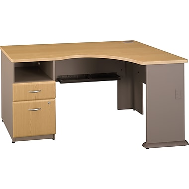 Bush Cubix Expandable Single Ped Corner Desk, Danish Oak