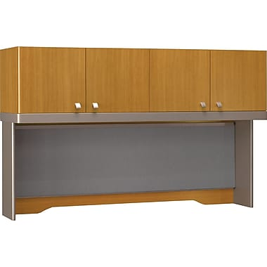 Bush Quantum 60in.W Hutch (Tall), Modern Cherry, Installed