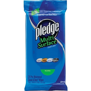 Pledge Multi-Surface Clean & Dust Wipes, 25 Wipes/Pack