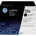 HP 55X Black Toner Cartridge (CE255XD), High Yield Twin Pack
