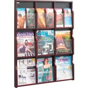 Safco 5702MH Literature Display Rack with 9 Pockets, Mahogany/Black