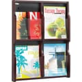 Safco® Expose™ 5704 Literature Display Rack With 4 Pockets, Mahogany/Black