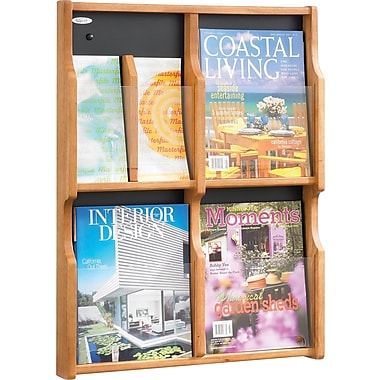 Safco 4-Pocket Solid Wood Magazine/Pamphlet Display, Medium Oak