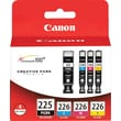 Canon PGI-225BK/CLI-226 Black and Color C/M/Y Ink Cartridges, Combo 4/Pack