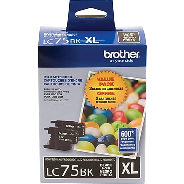 Brother LC75BK Black Ink Cartridges, High Yield, Twin Pack